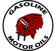 Red Indian Gasoline vintage sign reproduction Photographic Print
