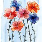 Watercolour long stemmed floral by Elvedee