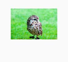 Close up portrait of little Owl against green background Unisex T-Shirt