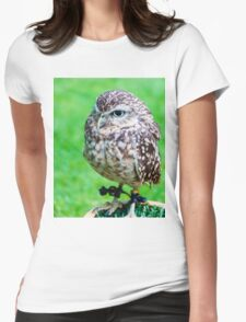 Close up portrait of little Owl against green background Womens Fitted T-Shirt