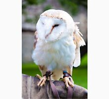 View of Barn owl sitting on falconer glove Unisex T-Shirt