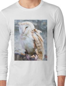 View of Barn owl sitting on falconer glove Long Sleeve T-Shirt