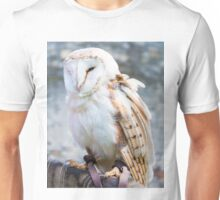 View of Barn owl sitting on falconer glove Unisex T-Shirt