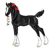 Draft Horse Christmas Foal Photographic Print