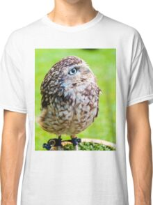 Close up portrait of little Owl against green background Classic T-Shirt
