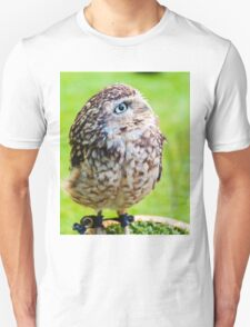Close up portrait of little Owl against green background Unisex T-Shirt
