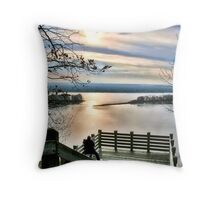 Sunset on the Mississippi (Eagle Lookout, Savanna IL) Throw Pillow