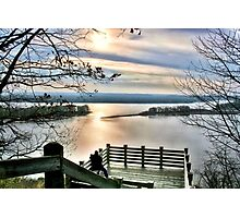 Sunset on the Mississippi (Eagle Lookout, Savanna IL) Photographic Print