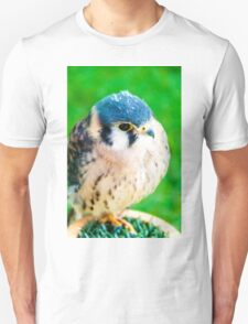 Close up portrait of small hawk against green background Unisex T-Shirt