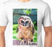 Close up portrait of brown wood Owl against green background Unisex T-Shirt