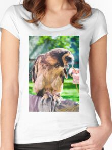 Close up portrait of brown wood Owl sitting on falconer glove Women's Fitted Scoop T-Shirt