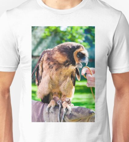 Close up portrait of brown wood Owl sitting on falconer glove Unisex T-Shirt