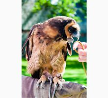 Close up portrait of brown wood Owl sitting on falconer glove T-Shirt