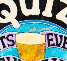 Close up on colorful British pub quiz sign Sticker
