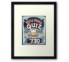 Close up on colorful British pub quiz sign Framed Print