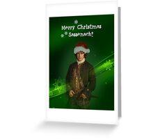 Merry Christmas Sassenach\Jamie in green Greeting Card