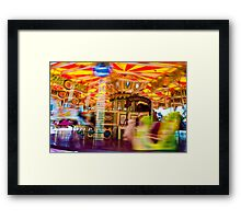 View of Carousel with horses on a carnival Merry Go Round Framed Print