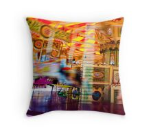 View of Carousel with horses on a carnival Merry Go Round Throw Pillow