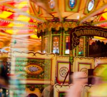 View of Carousel with horses on a carnival Merry Go Round Sticker