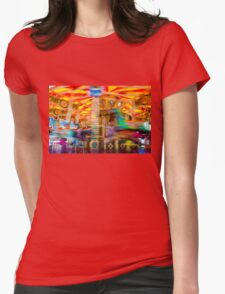 View of Carousel with horses on a carnival Merry Go Round Womens Fitted T-Shirt