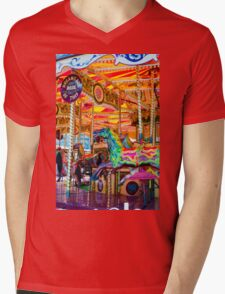 View of Carousel with horses on a carnival Merry Go Round Mens V-Neck T-Shirt