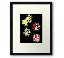 Super mario heads. Nintendo Games. Framed Print