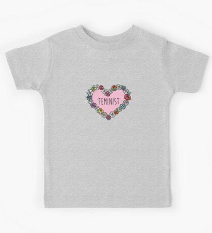 Feminist Flower Heart Kids Tee