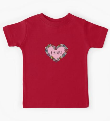 Feminist Flower Heart Kids Tee