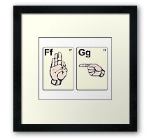 Dirty Sign Language Flash Cards Framed Print