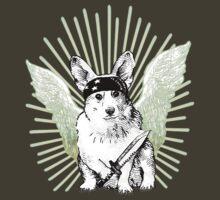 BAD dog – corgi carrying a knife by Jenny Holmlund