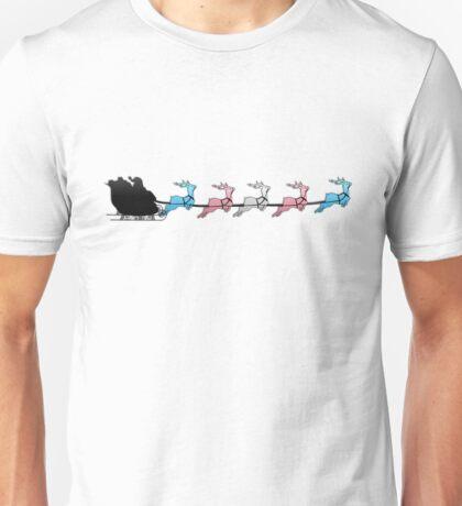 Santa Sleigh with Transgender Reindeer Unisex T-Shirt