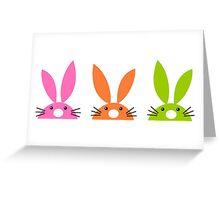 Funny easter rabbits set Illustration : orange, pink and green Greeting Card