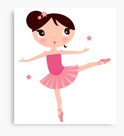 Beautiful little ballerina girl. Cartoon Illustration Canvas Print