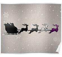 Santa Sleigh with Asexual Reindeer Poster