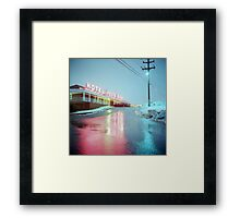 Rainy Motel Lights  Framed Print