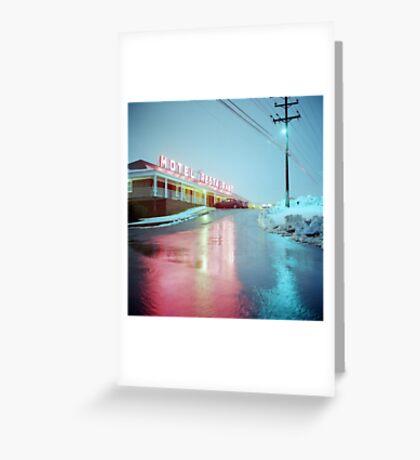 Rainy Motel Lights  Greeting Card