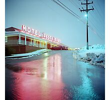 Rainy Motel Lights  Photographic Print