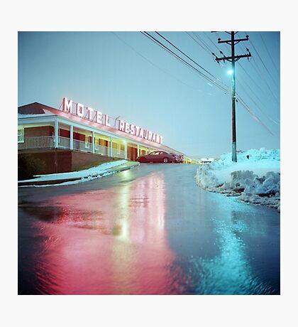 Rainy Motel Lights  Photographic Print