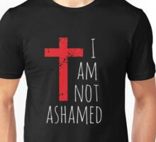 I am not ashamed - Big Red Cross - Christian  Unisex T-Shirt