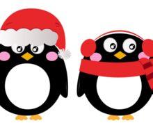 Cartoon penguin christmas set. Vector Illustration Sticker