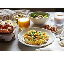 Fresh breakfast food. Scrambled eggs and orange juice. Photographic Print