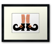 Orange striped witch legs. Vector cartoon Illustration Framed Print