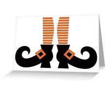 Orange striped witch legs. Vector cartoon Illustration Greeting Card