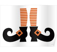 Orange striped witch legs. Vector cartoon Illustration Poster
