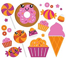 Sweet pink candy collection. Vector cartoon Photographic Print