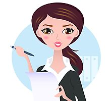 Office writing woman with paper note Photographic Print