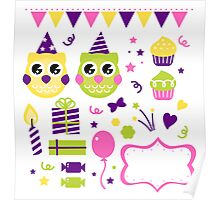 Owl set for your birthday party. New autumn vintage arts! Poster