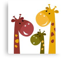 Happy cartoon Giraffes. Vector Illustration Canvas Print