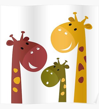 Happy cartoon Giraffes. Vector Illustration Poster