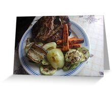 Barbecue meat and vegetables Greeting Card